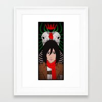 shingeki no kyojin Framed Art Prints featuring Shingeki no Kyojin - Mikasa card by kamikaze43v3r
