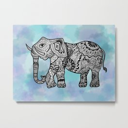 Elephant Melody in Water Metal Print