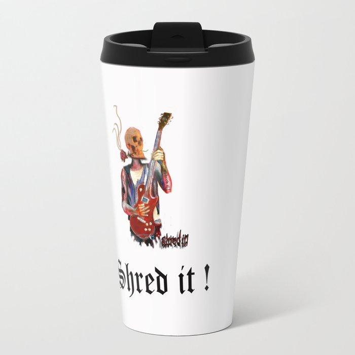 Shred it Skull guitar player  Travel Mug