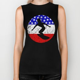 American Flag Surfing Biker Tank