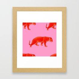 Vintage Cheetahs in Coral + Red Framed Art Print