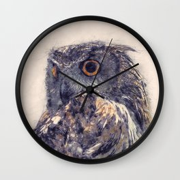 Great Horned Owl Painting - Nature Art Prints Wall Clock