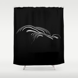 0694- Nude Female Naked BBW Geometric Black White Naked Body Big Abstracted Sensual Sexy Erotic Art Shower Curtain