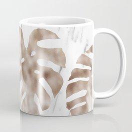 Rose gold monstera on white marble Coffee Mug