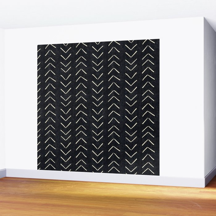 Mudcloth Big Arrows in Black and White Wall Mural