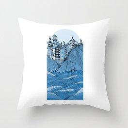Sea cliff Town Throw Pillow
