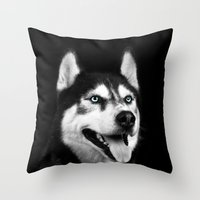 husky Throw Pillows featuring Husky by Isaloha Photography