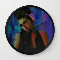 amy hamilton Wall Clocks featuring Amy by Darla Designs