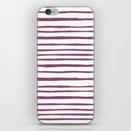 Magenta pink watercolor hand painted stripes iPhone Skin