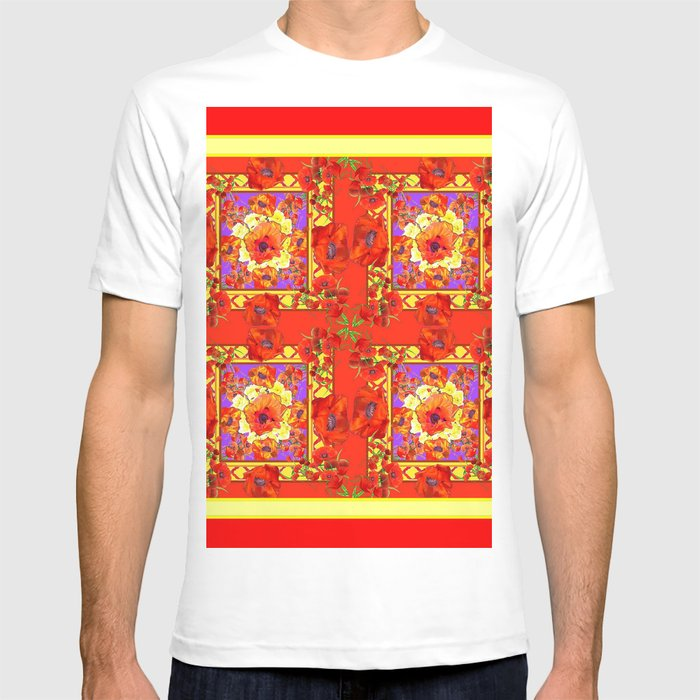 Patterned Red Gold Art Deco Orange Red Poppies T Shirt By