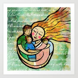 Mother with 3 Boys Fine Art Print, Green, Blue, Mother and Child Art Print