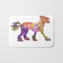 Chinese crested dog 01 in watercolor Bath Mat