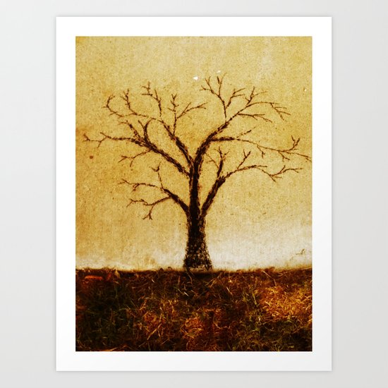 charcoal tree Art Print