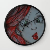 the little mermaid Wall Clocks featuring Little mermaid by Nichola irvine art
