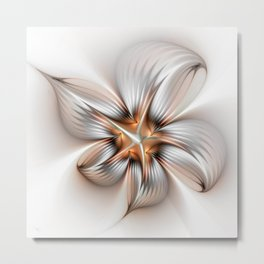 Elegance of a Flower, modern Fractal Art Metal Print
