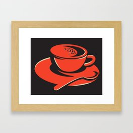 coffee cup bubbles spoon retro Framed Art Print