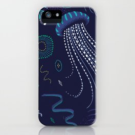 Into the Deep Jellies - Navy iPhone Case