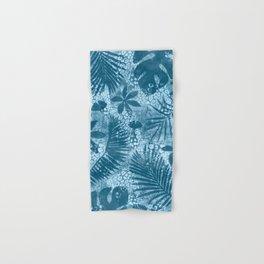 Blue Tropical Palm Leaf Pattern Hand & Bath Towel