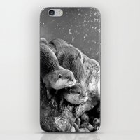 otters iPhone & iPod Skins featuring Otters in mono by Shalisa Photography