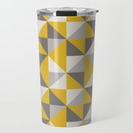 Retro Triangle Pattern in Yellow and Grey Travel Mug