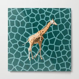 African Giraffe on Blue Camouflage Metal Print