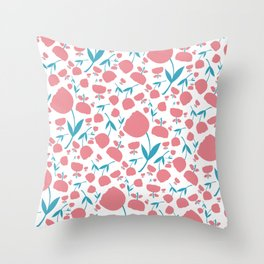 Cup Flowers Throw Pillow