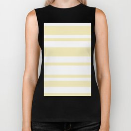 Mixed Horizontal Stripes - White and Blond Yellow Biker Tank