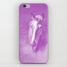 Horse emerging from the purple mist iPhone Skin