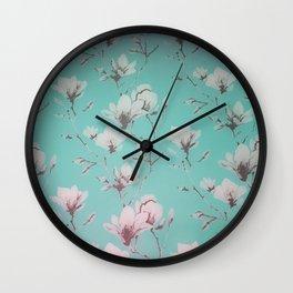 Floral Wallpaper Mint Wall Clock
