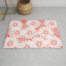 Summer Flowers Living Coral Rug