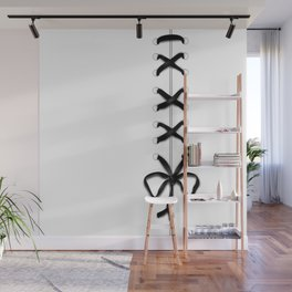 Laced Black Ribbon on White Wall Mural