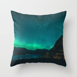Northen Lights Above the Sognefjord Throw Pillow