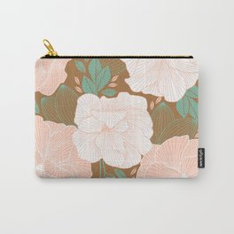 Peachy Pink Roses Carry-All Pouch