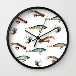 Vintage fishing lures -watercolor  Wall Clock