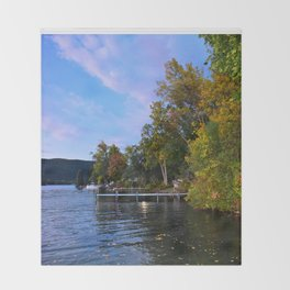 Autumn Arrives at the Lake Throw Blanket