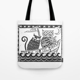 The Owl And The Pussycat (white background) Tote Bag