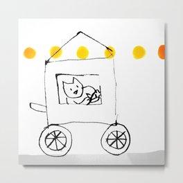 Gat sobre rodes / Cat on wheels Metal Print
