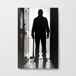 Bad Man at door in silhouette with axe Metal Print