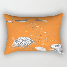 Two Tailed Duck and Jellyfish Orange Rectangular Pillow