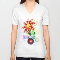 techno V-neck T-shirts featuring Techno Flower by Andrew Sebastian Kwan