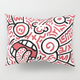 """""""The Face"""" - inspired by Keith Haring v. red Pillow Sham"""