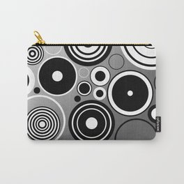 Geometric black and white rings on metallic silver Carry-All Pouch