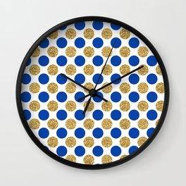Pastel pink navy blue faux gold glitter polka dots Wall Clock
