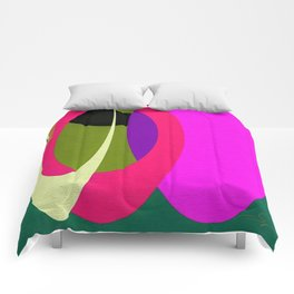 Abstract Composition in Green and Fuchsia Comforters