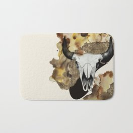 Buffalo Skull by carographic Bath Mat