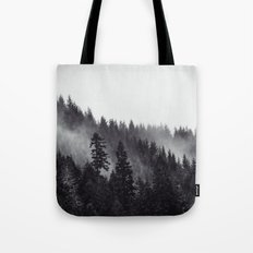 Fog Forest - Black and White Foggy Fir Trees Tote Bag
