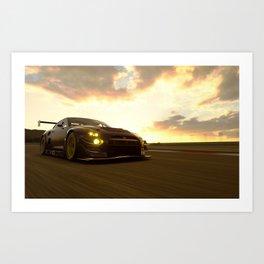 japanese racing car skyline gtr gt3 dramatic sky  Art Print