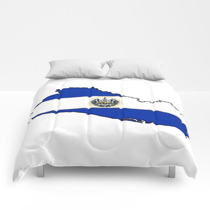 El Salvador Map with Salvadoran Flag Comforters
