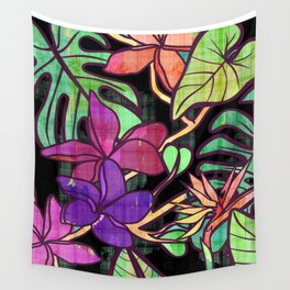 Tropical leaves and flowers, jungle print Wall Tapestry