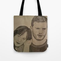 allyson johnson Tote Bags featuring DAKOTA JOHNSON - JAMIE DORNAN by Virginieferreux